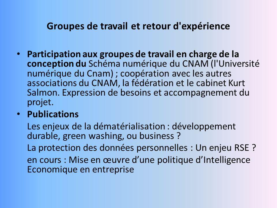 Groupes de travail et retour d expérience Participation aux groupes de travail en charge de la conception du Schéma numérique du CNAM (l Université numérique du Cnam) ; coopération avec les autres associations du CNAM, la fédération et le cabinet Kurt Salmon.