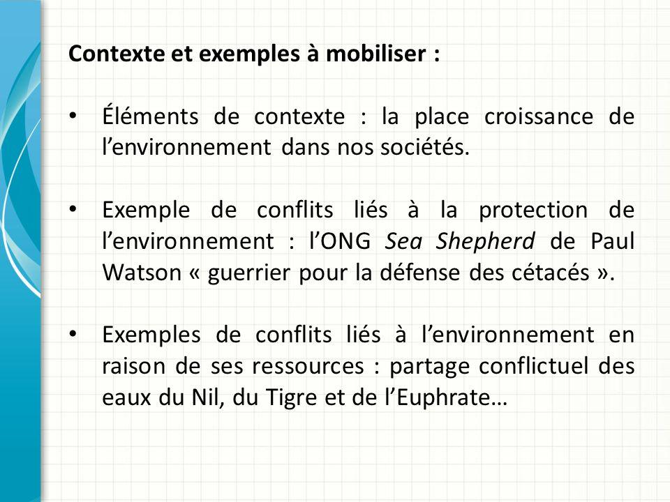 Contexte et exemples à mobiliser : Éléments de contexte : la place croissance de lenvironnement dans nos sociétés.