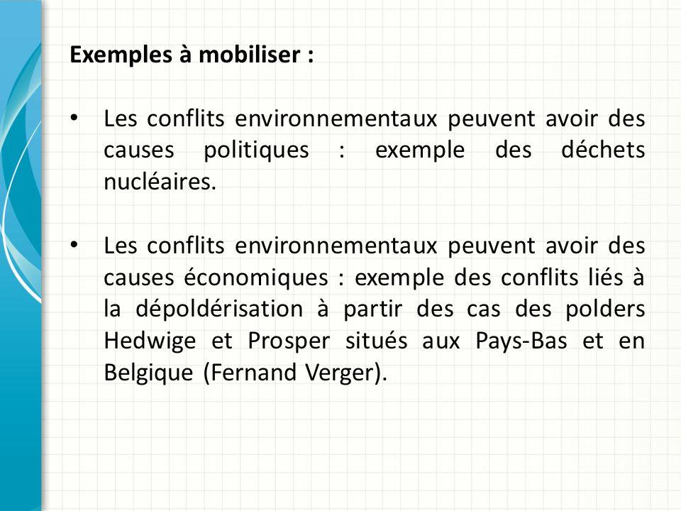 Exemples à mobiliser : Les conflits environnementaux peuvent avoir des causes politiques : exemple des déchets nucléaires.