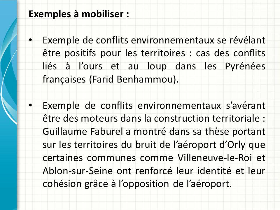 Exemples à mobiliser : Exemple de conflits environnementaux se révélant être positifs pour les territoires : cas des conflits liés à lours et au loup dans les Pyrénées françaises (Farid Benhammou).