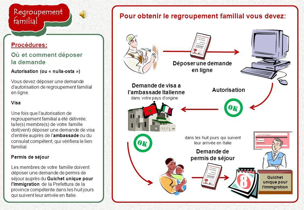 Autorisation (ou « nulla-osta ») Vous devez déposer une demande d autorisation de regroupement familial en ligne.