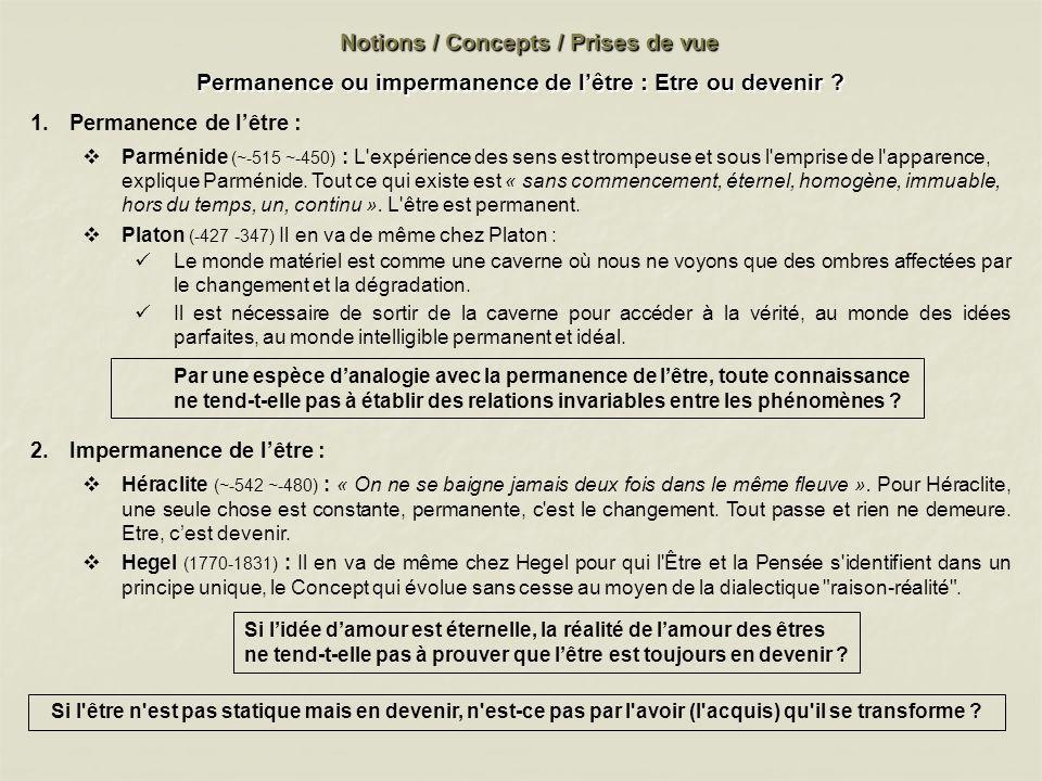 Notions / Concepts / Prises de vue Permanence ou impermanence de lêtre : Etre ou devenir ? 1.Permanence de lêtre : Parménide (~-515 ~-450) : L'expérie
