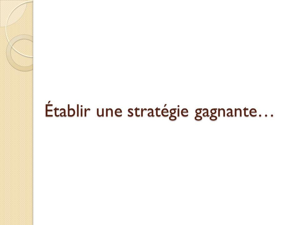 Établir une stratégie gagnante…
