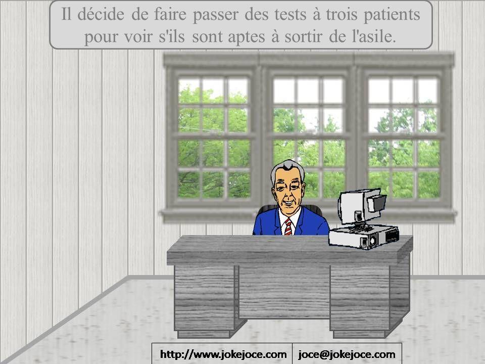 Il décide de faire passer des tests à trois patients pour voir s'ils sont aptes à sortir de l'asile.
