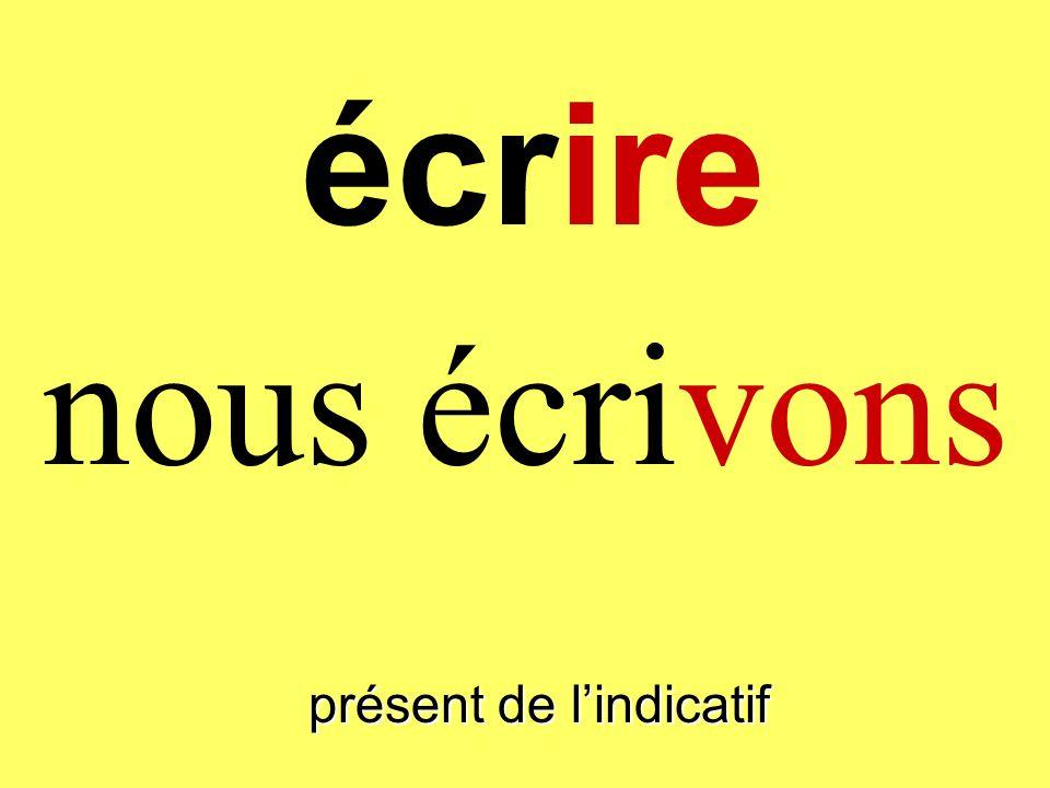 présent de lindicatif on écrit écrire