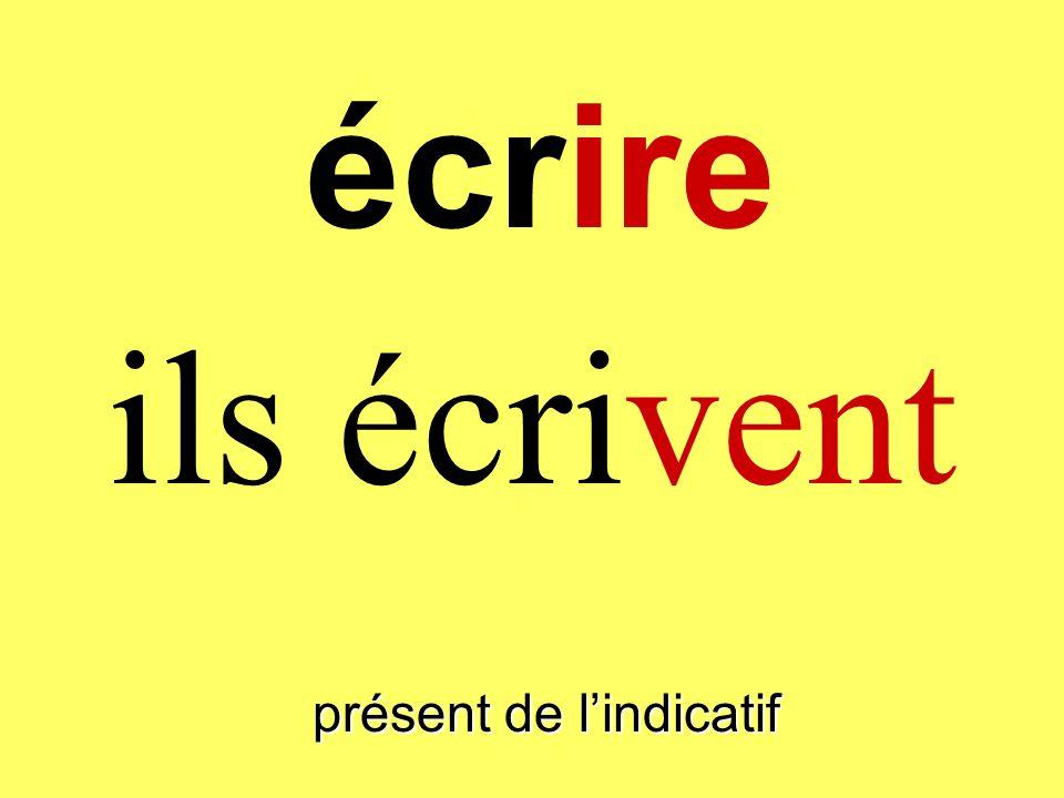 présent de lindicatif vous écrivez écrire
