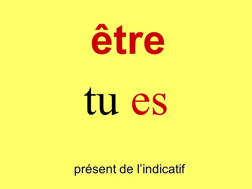 présent de lindicatif tu es être
