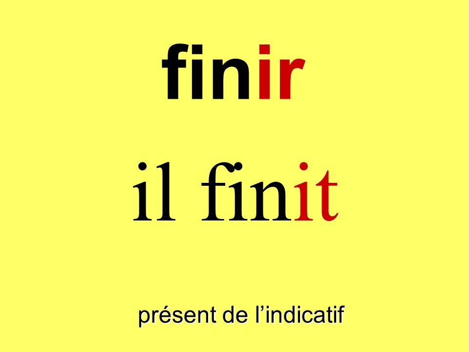 finir il finit présent de lindicatif