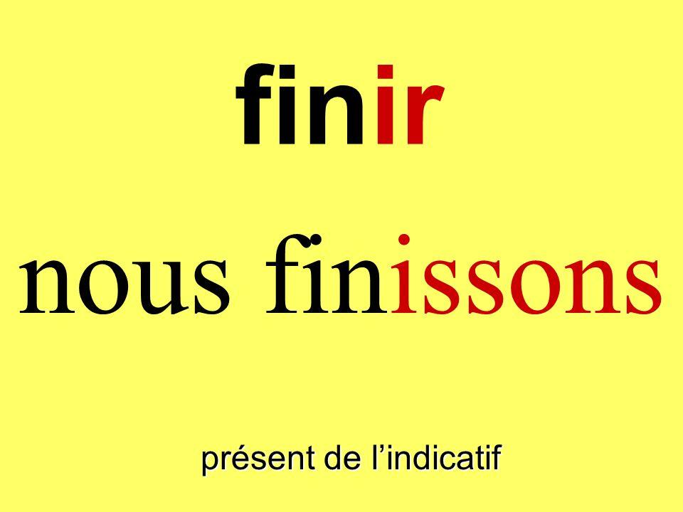 finir nous finissons présent de lindicatif