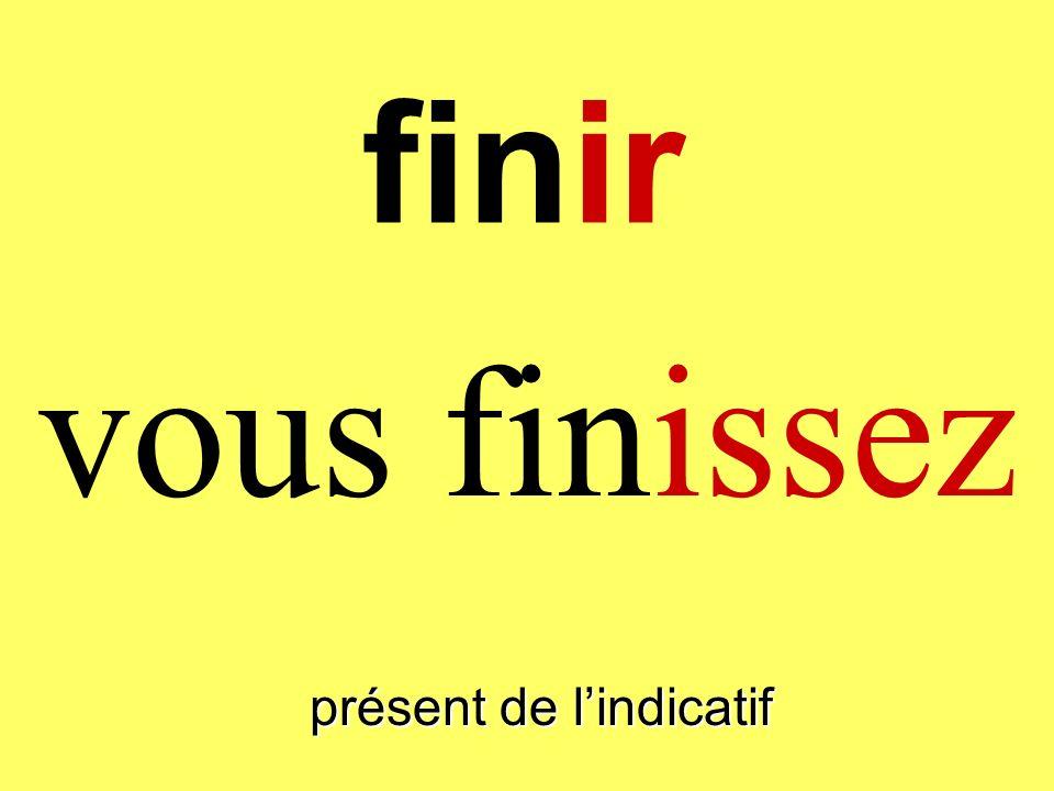 finir vous finissez présent de lindicatif