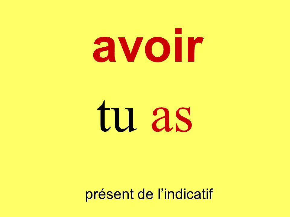 présent de lindicatif tu as avoir
