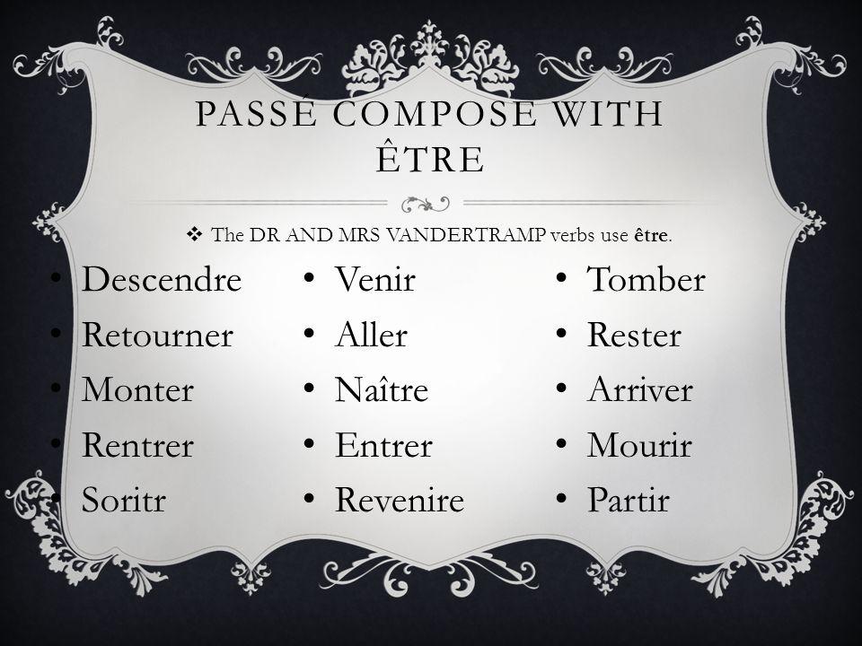 PASSÉ COMPOSE WITH ÊTRE EXAMPLE Jesuisallé(e) Tuesallé(e) Il/Elle/OnEstallé(e)(s) Noussommesallé(e)s Vousêtesallé(e)(s) Ils/Ellessontallé(e)s Aller