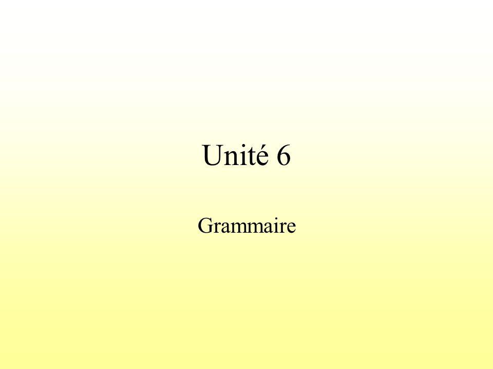 Unité 6 Grammaire