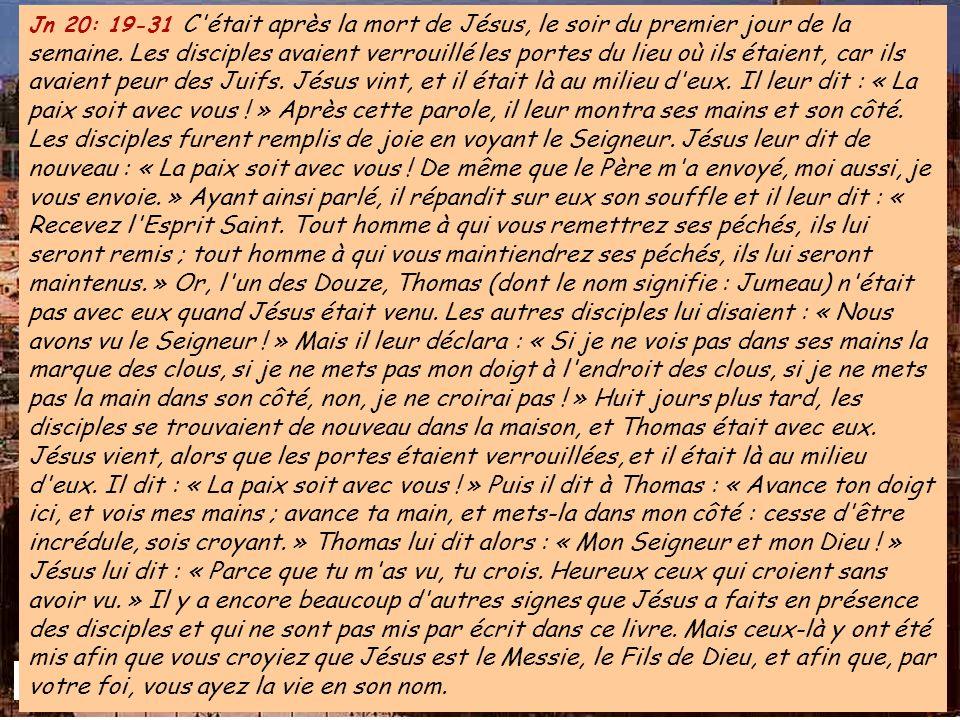 ALLÉLUIA Jn 20,29 ALLÉLUIA Jn 20,29 Thomas a vu le Seigneur : il a cru. Heureux celui qui croit sans avoir vu !
