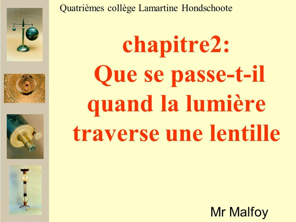 chapitre2: Que se passe-t-il quand la lumière traverse une lentille Mr Malfoy Quatrièmes collège Lamartine Hondschoote