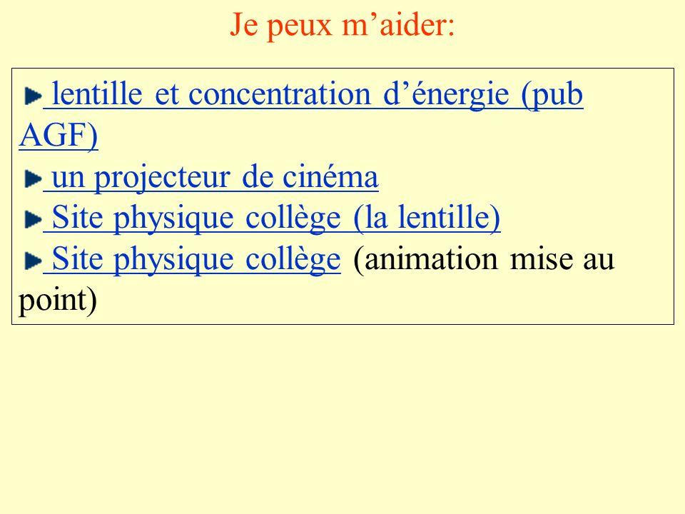 Je peux maider: lentille et concentration dénergie (pub AGF) un projecteur de cinéma Site physique collège (la lentille) Site physique collège Site ph