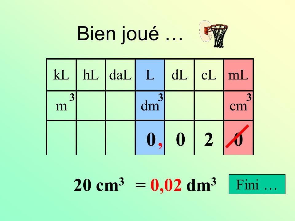 0,02 0,2 200 20 2 20 cm 3 = …… dm 3 Cliquer sur la bonne réponse