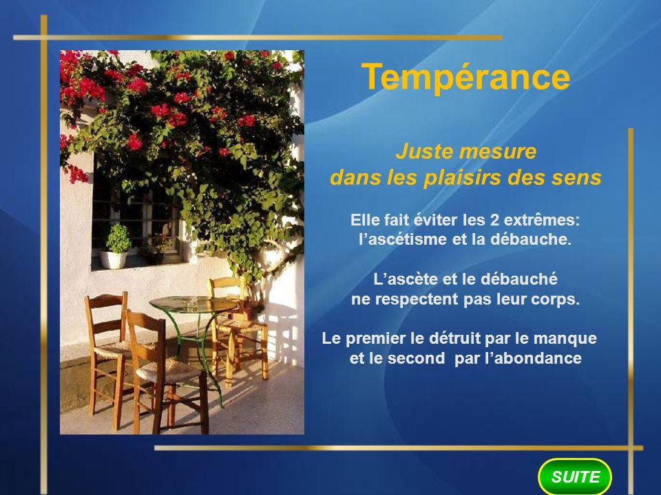 Tempérance Juste mesure dans les plaisirs des sens Elle fait éviter les 2 extrêmes: lascétisme et la débauche.