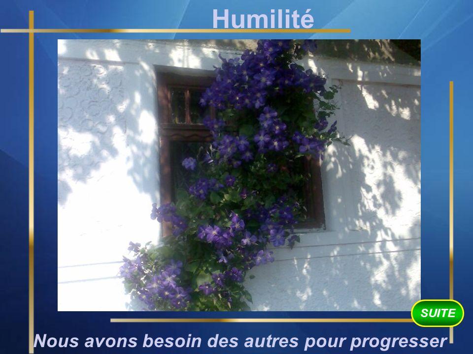 Humilité Nous avons besoin des autres pour progresser SUITE