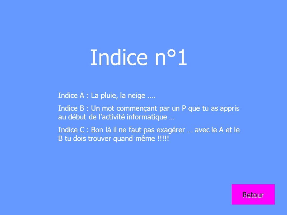 Indice n°1 Indice A : La pluie, la neige …. Indice B : Un mot commençant par un P que tu as appris au début de lactivité informatique … Indice C : Bon