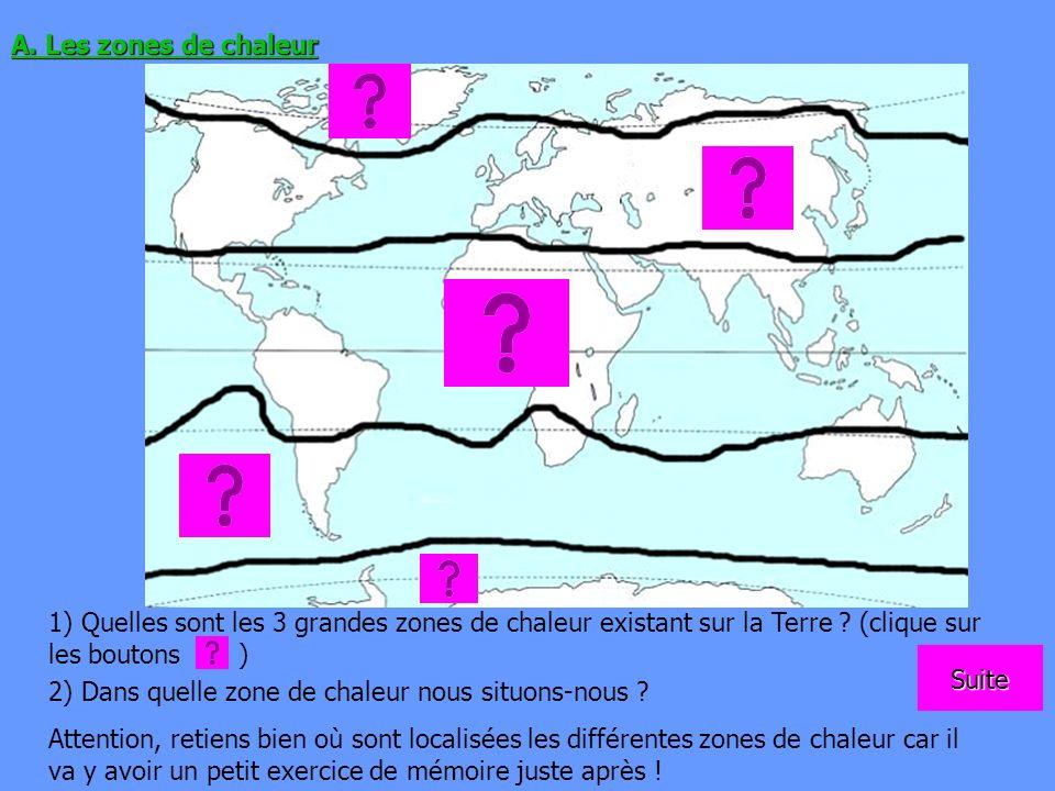 A. Les zones de chaleur 1) Quelles sont les 3 grandes zones de chaleur existant sur la Terre ? (clique sur les boutons ) 2) Dans quelle zone de chaleu
