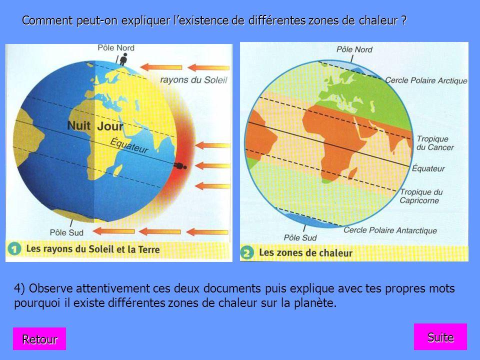Comment peut-on expliquer lexistence de différentes zones de chaleur ? 4) Observe attentivement ces deux documents puis explique avec tes propres mots
