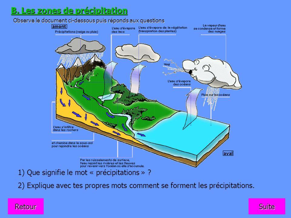 B. Les zones de précipitation Observe le document ci-dessous puis réponds aux questions 1) Que signifie le mot « précipitations » ? 2) Explique avec t