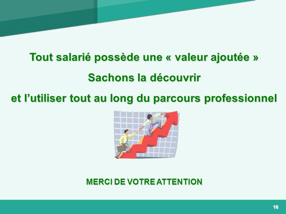 16 Tout salarié possède une « valeur ajoutée » Sachons la découvrir et lutiliser tout au long du parcours professionnel MERCI DE VOTRE ATTENTION