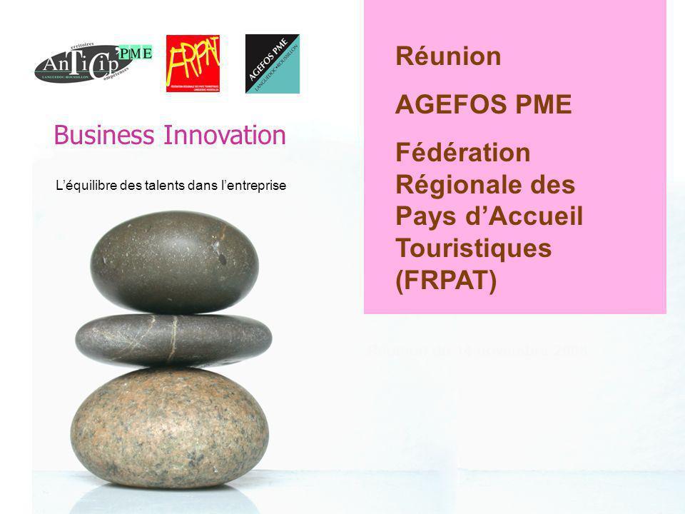 Business Innovation 0 Léquilibre des talents dans lentreprise Réunion du 14 novembre 2008 Réunion AGEFOS PME Fédération Régionale des Pays dAccueil Touristiques (FRPAT) Business Innovation