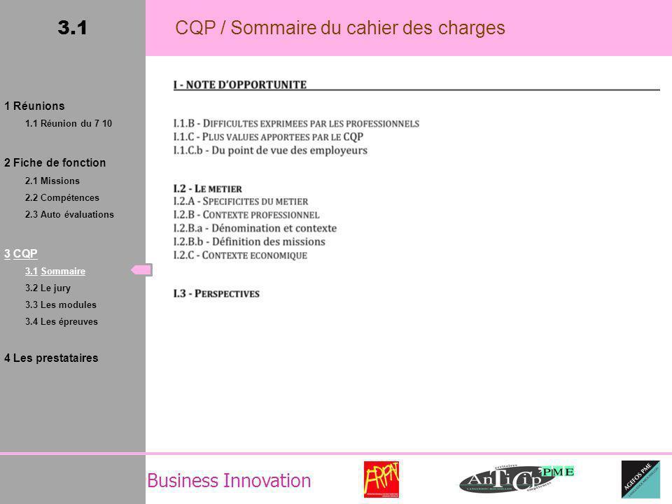 Business Innovation 3.1 CQP / Sommaire du cahier des charges 1 Réunions 1.1 Réunion du 7 10 2 Fiche de fonction 2.1 Missions 2.2 Compétences 2.3 Auto évaluations 3 CQP 3.1 Sommaire 3.2 Le jury 3.3 Les modules 3.4 Les épreuves 4 Les prestataires