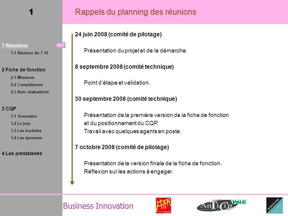 1 Rappels du planning des réunions 24 juin 2008 (comité de pilotage) Présentation du projet et de la démarche.