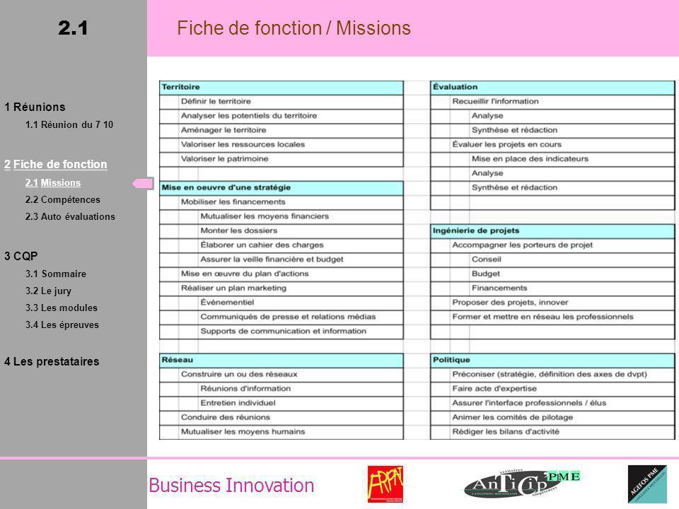 Business Innovation 2.1 Fiche de fonction / Missions 1 Réunions 1.1 Réunion du 7 10 2 Fiche de fonction 2.1 Missions 2.2 Compétences 2.3 Auto évaluations 3 CQP 3.1 Sommaire 3.2 Le jury 3.3 Les modules 3.4 Les épreuves 4 Les prestataires