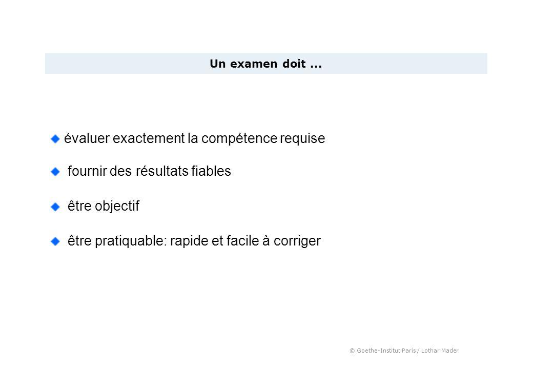 © Goethe-Institut Paris / Lothar Mader Un examen doit... évaluer exactement la compétence requise fournir des résultats fiables être objectif être pra