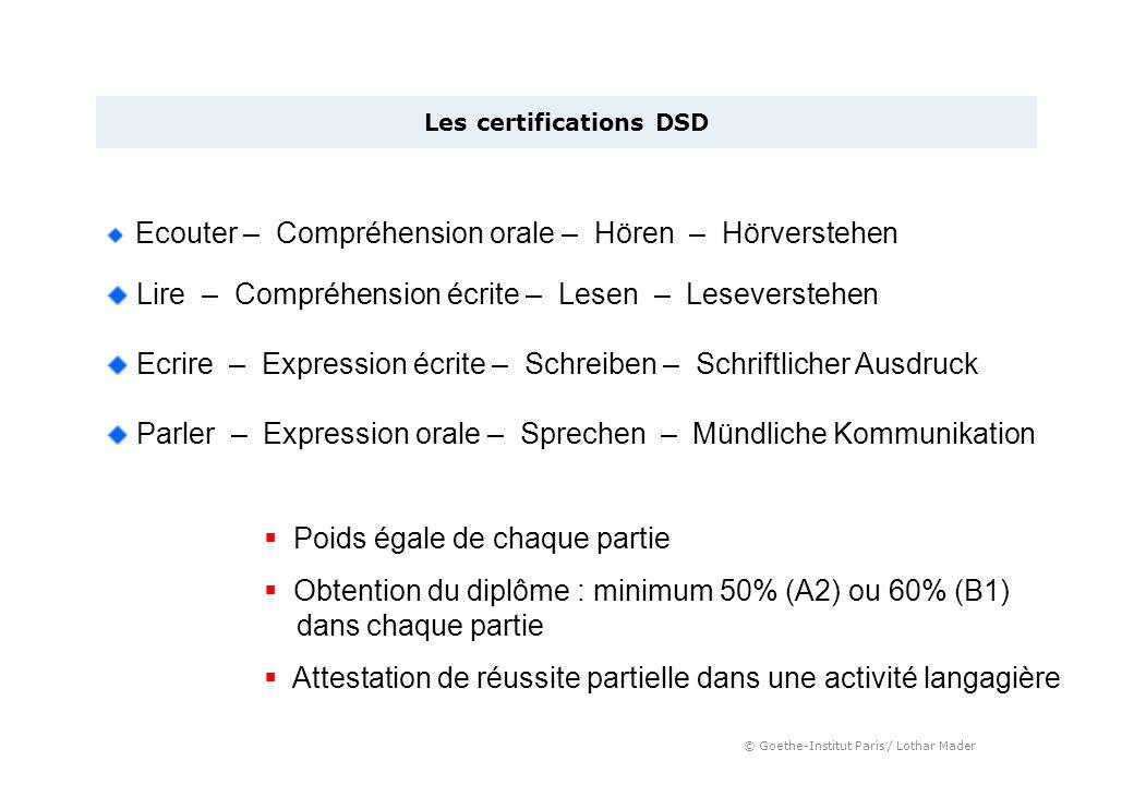 © Goethe-Institut Paris / Lothar Mader Les certifications DSD Ecouter – Compréhension orale – Hören – Hörverstehen Parler – Expression orale – Spreche