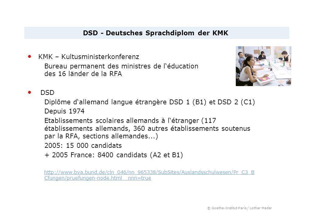 © Goethe-Institut Paris / Lothar Mader KMK – Kultusministerkonferenz Bureau permanent des ministres de léducation des 16 länder de la RFA DSD Diplôme
