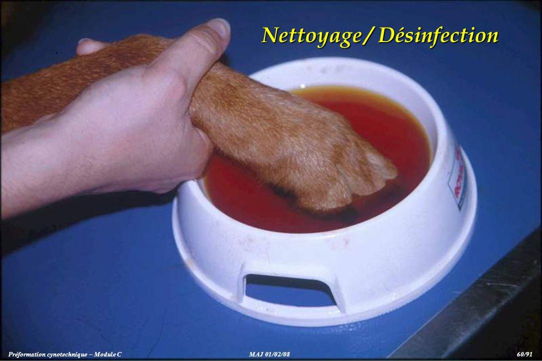 Nettoyage / Désinfection Préformation cynotechnique – Module CMAJ 01/02/08 60/91