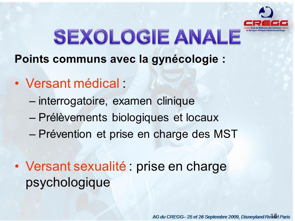 Points communs avec la gynécologie : 16 Versant médical : –interrogatoire, examen clinique –Prélèvements biologiques et locaux –Prévention et prise en