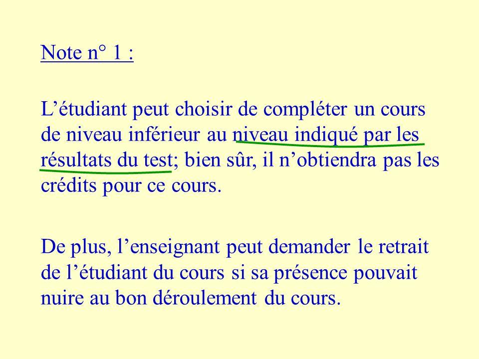 Note n° 1 : Létudiant peut choisir de compléter un cours de niveau inférieur au niveau indiqué par les résultats du test; bien sûr, il nobtiendra pas les crédits pour ce cours.