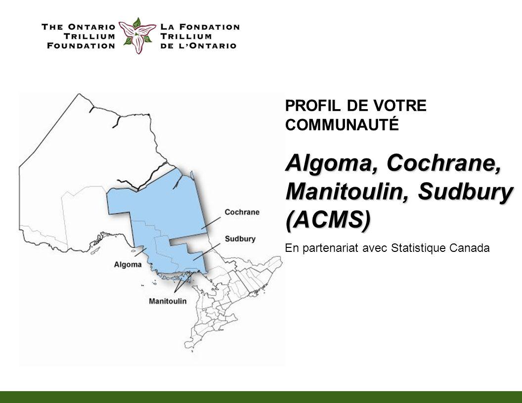 PROFIL DE VOTRE COMMUNAUTÉ Algoma, Cochrane, Manitoulin, Sudbury (ACMS) En partenariat avec Statistique Canada