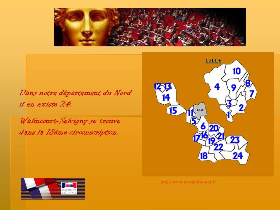 Dans notre département du Nord il en existe 24. Walincourt-Selvigny se trouve dans la 18ème circonscription.