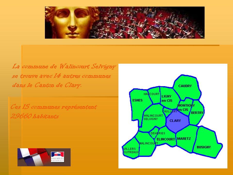 La commune de Walincourt Selvigny se trouve avec 14 autres communes dans le Canton de Clary. Ces 15 communes représentent 29660 habitants