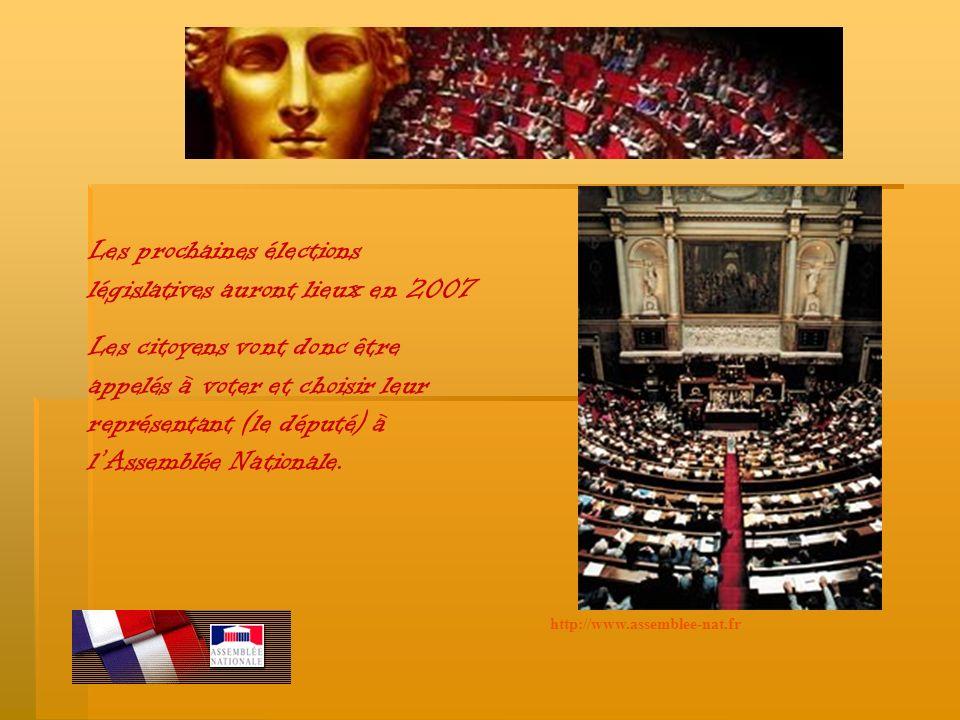 Les prochaines élections législatives auront lieux en 2007 Les citoyens vont donc être appelés à voter et choisir leur représentant (le député) à lAssemblée Nationale.