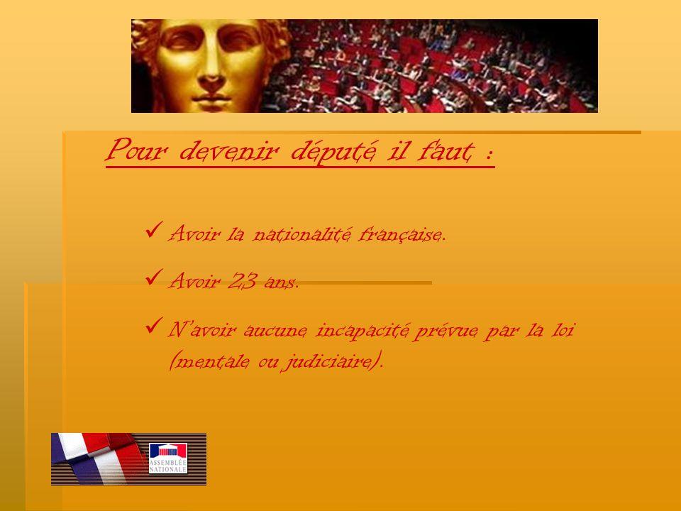 Pour devenir député il faut : A voir la nationalité française. A voir 23 ans. N avoir aucune incapacité prévue par la loi (mentale ou judiciaire).