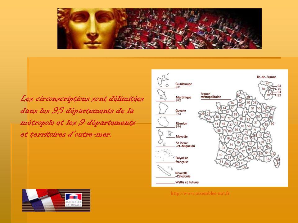 Les circonscriptions sont délimitées dans les 95 départements de la métropole et les 9 départements et territoires d outre-mer. http://www.assemblee-n
