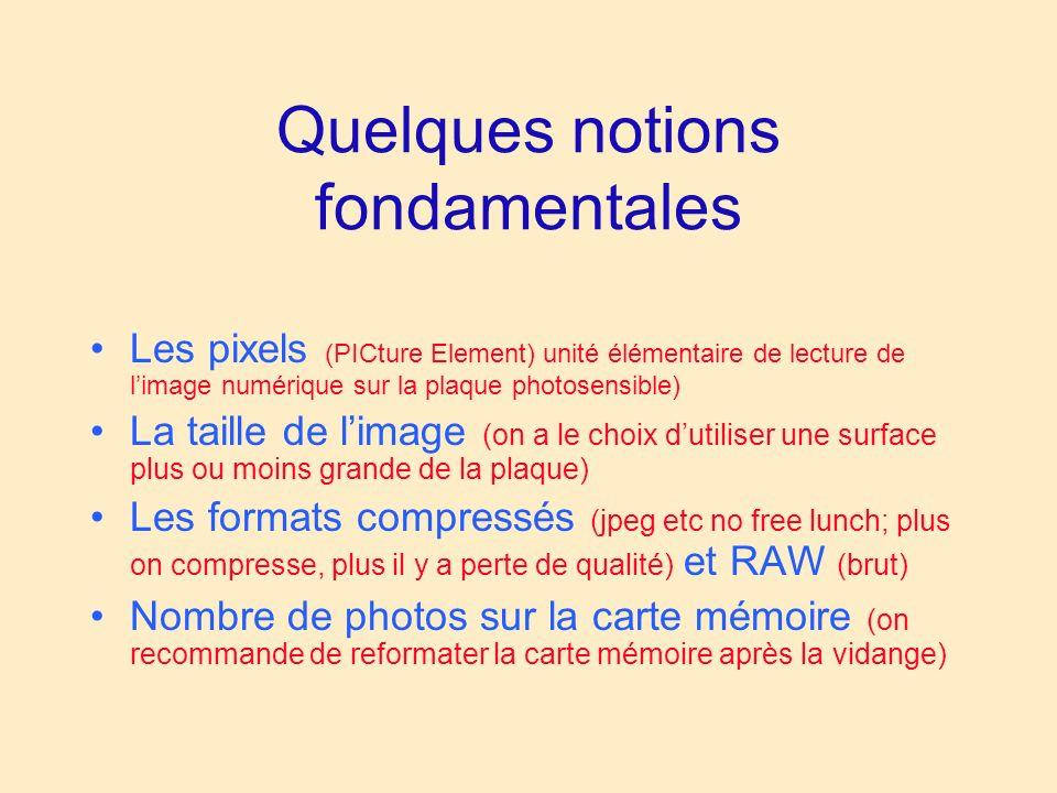Quelques notions fondamentales Les pixels (PICture Element) unité élémentaire de lecture de limage numérique sur la plaque photosensible) La taille de