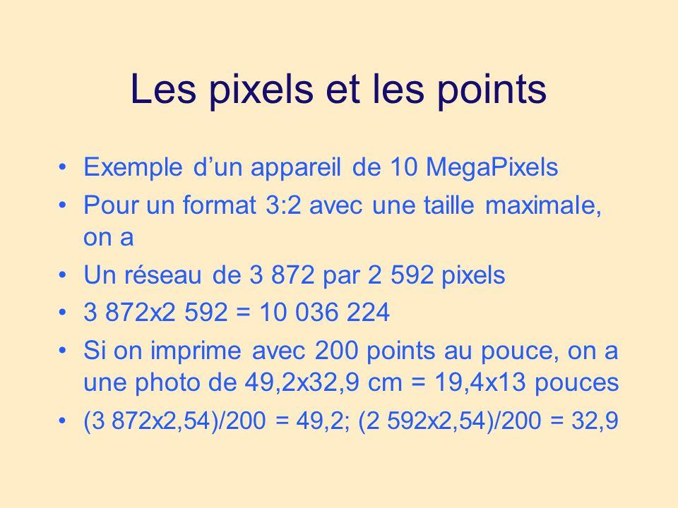 Les pixels et les points Exemple dun appareil de 10 MegaPixels Pour un format 3:2 avec une taille maximale, on a Un réseau de 3 872 par 2 592 pixels 3