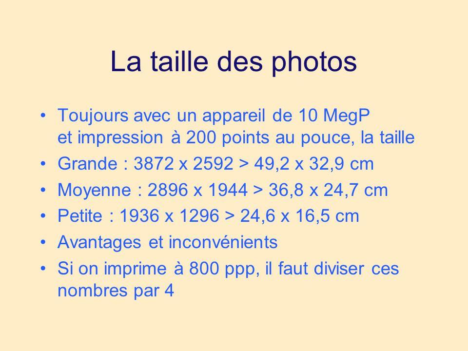 La taille des photos Toujours avec un appareil de 10 MegP et impression à 200 points au pouce, la taille Grande : 3872 x 2592 > 49,2 x 32,9 cm Moyenne : 2896 x 1944 > 36,8 x 24,7 cm Petite : 1936 x 1296 > 24,6 x 16,5 cm Avantages et inconvénients Si on imprime à 800 ppp, il faut diviser ces nombres par 4