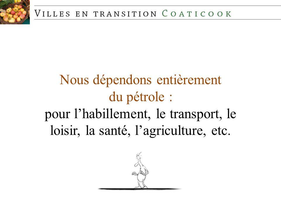 Nous dépendons entièrement du pétrole : pour lhabillement, le transport, le loisir, la santé, lagriculture, etc.