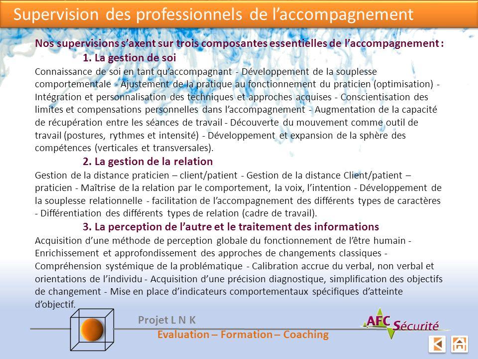 Supervision des professionnels de laccompagnement Nos supervisions saxent sur trois composantes essentielles de laccompagnement : 1. La gestion de soi