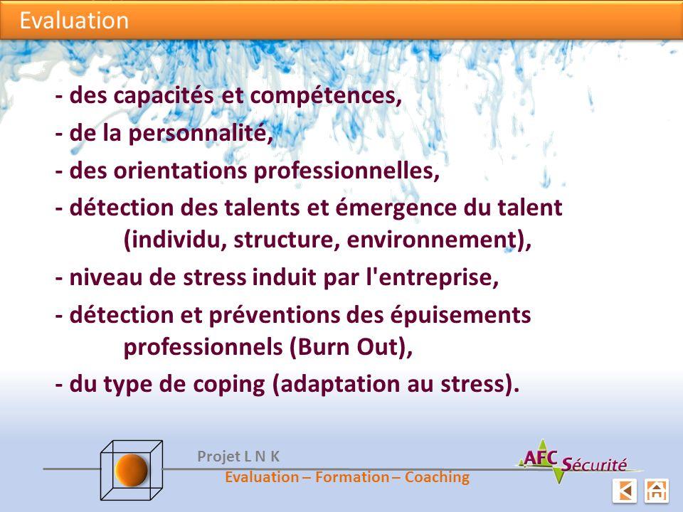 Evaluation - des capacités et compétences, - de la personnalité, - des orientations professionnelles, - détection des talents et émergence du talent (